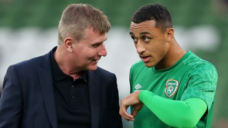 File photo dated 07-09-2021 of Republic of Ireland manager Stephen Kenny (left) and Adam Idah. Issue