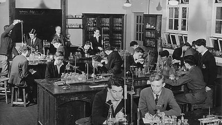Former Royal Liberty students in a chemistry lesson in 1953.