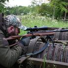 Anschutz 1761 in 17 HMR with Thumbhole stock being shot in woodland setting