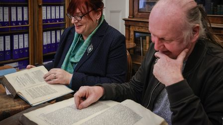 Julie Miller, PhD researcher at the University of Essex, and Kevin Davey, author and historian, with Quaker books, Walden