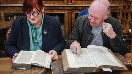 Julie Miller, PhD researcher at the University of Essex, and Kevin Davey, author and historian, with Quaker books, Essex