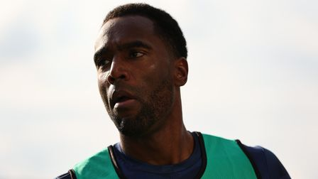 Luton Town's Cameron Jerome warms up on the touchline during the Sky Bet Championship match at Kenil
