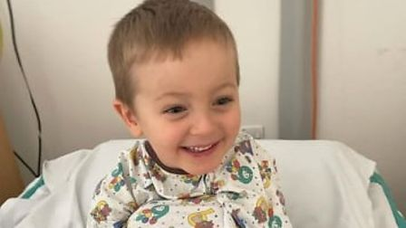 Findlay Clasper in hospital having been diagnosed with aplastic anaemia