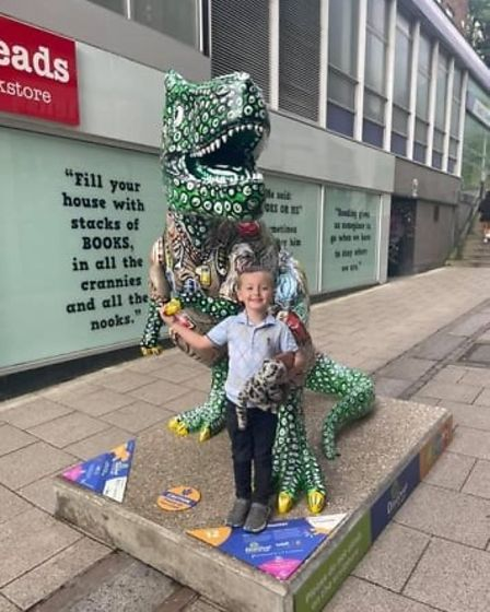 Findlay Clasper enjoying the GoGoDiscover T-Rex sculpture trail in Norwich before his diagnosis