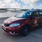 An A1 Taxi on the Barnstaple waterfront
