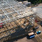 The new stages under construction at Elstree Studios.
