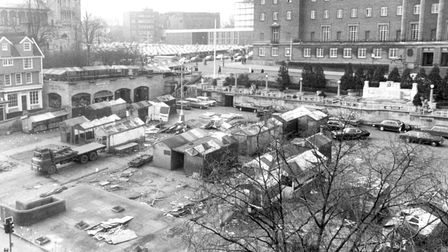 NORWICH MARKET WAS MOVED INTO THE BETHEL STREET CAR PARK DURING THE LAST MAJOR SHAKE-UP IN 1976.