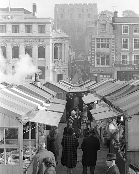 Norwich market / castle view pic taken 11th nov 1966 m4141-39 pic to be used in lets talk nov 201