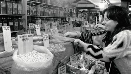 A health food stall on Norwich market 1989