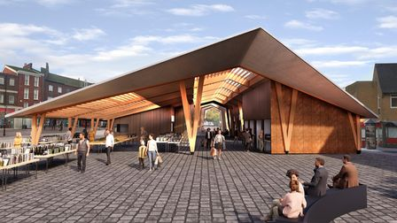 A visualisation of the Great Yarmouth Market Place redevelopment.