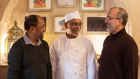 The team at the Dhaka, from left, Harun Mahmud, Anchor Ali and Foez Haque.