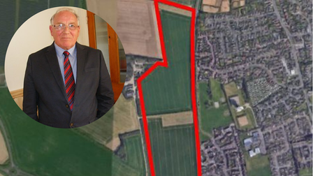 """Caister Parish Council chairman Tony Baker (inset) says villagers feel """"very strongly"""" about the plans (pictured)"""