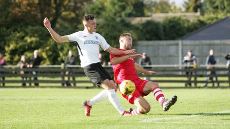 Brandon Adams was in top-form asRoyston Town beat St Ives Town 7-1.