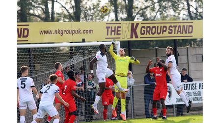 Action from Weston AFC against Beaconsfield Town at The Optima Stadium.