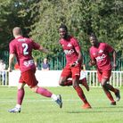 Carl Mensah (second from left) was on target twice as Welwyn Garden City beat Ashford Town (Middx) in the FA Trophy.
