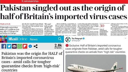 How the Telegraph and Mail Online reported the story. Photograph: Twitter.