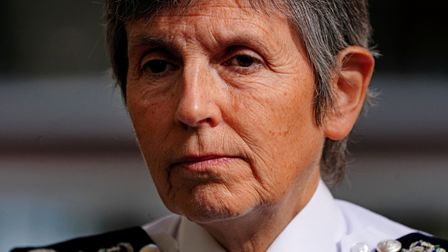 Metropolitan Police Commissioner Dame Cressida Dick speaks to media after taking part in a walkabout