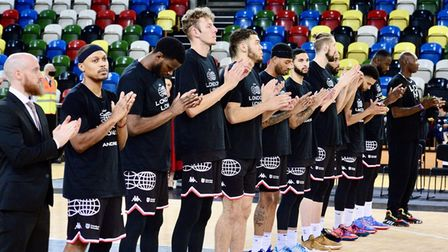London Lions players huddle together