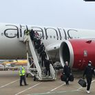 The New York Jets 'touchdown' after flying to Stansted Airport ahead of their NFL game in London