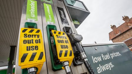Empty fuel pumps at a petrol station in York as Coronavirus continues to affect the UK. The death to