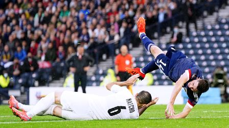 Scotland's Billy Gilmour (right) is fouled by Israel's Bibars Natcho resulting in a penalty being gi