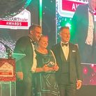 Abbeygate group forecourt manager of Wymondham Leslie Patmore receiving the award from Strictly Come Dancing's Anton du Beke.