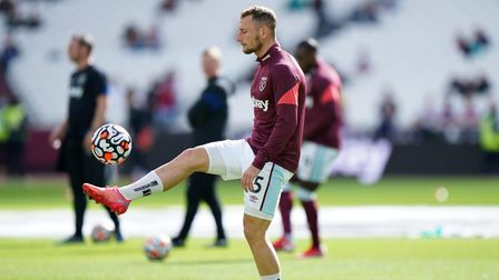 West Ham United's Vladimir Coufal warming up before the Premier League match at the London Stadium,