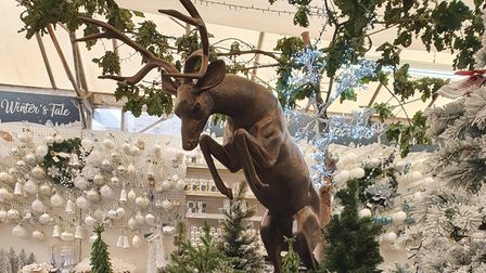 The department opens up into a white snowy wonderland complete with leaping stag.