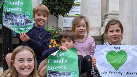 Children showing support of Islington's People Friendly Streets