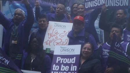 City University cleaners' and catering workers' protest
