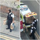police with bags