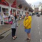 (L to R)Hannah Harrington, Barnstaple Town Centre Manager, and North Devon MP Selaine Saxby in Butchers Row in Barnstaple