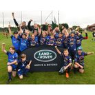 Weston under-12s celebrate victory in the LandRoverPremiership Rugby Cup.