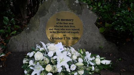 A memorial for victims of the Hatfield rail crash on October 17 2000.