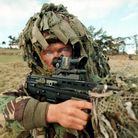 PA Library Photo : 27.10.1995 : A British competitor takes aim with his 5.56mm rifle (SA-80). : All