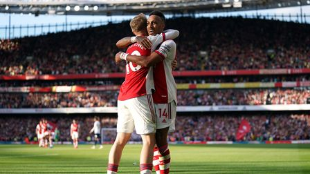 Arsenal's Pierre-Emerick Aubameyang celebrates scoring their side's second goal of the game with tea