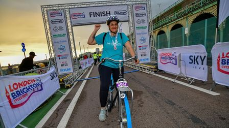 Jennifer Mohammadi at the culmination of her charity cycle for Live Unlimited