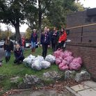 Holy Saviour Guides with their haul from the Dell at last year's socially distanced litter pick in Hitchin