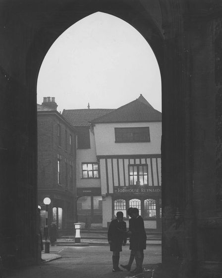 Norwich Streets -- TTombland looking at Augustine Steward HouseDated -- 25 January, 1960