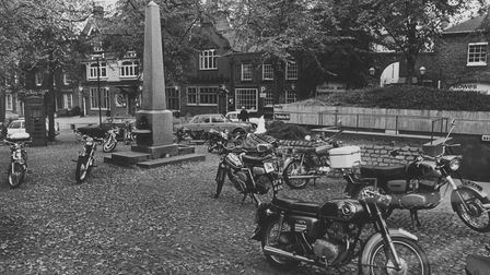 Norwich Streets -- TMotorcycle parking on TomblandDated -- 7 October 1975Photograph -- C