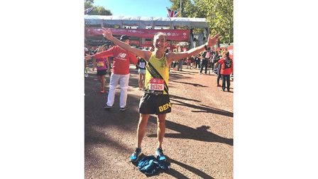 All smiles for Ben Sharp after he completed the London Marathon.