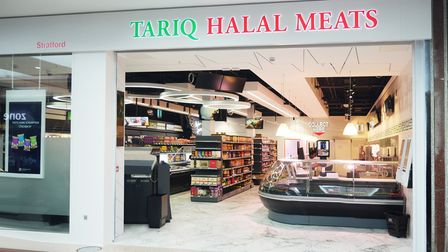 The front of Tariq Halal Meats butcher store in Stratford Shopping Centre