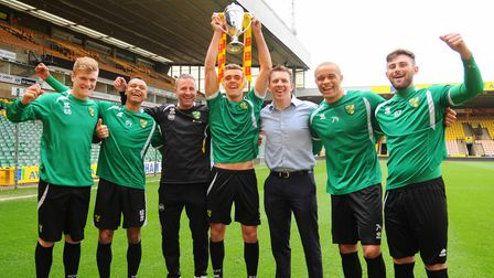 A handful of Norwich City Under-18s celebrate their 2013 FA Youth Cup succes - from left: Cameron Mc