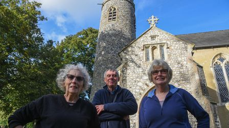 Diana Smith, Friends of All Saints Gresham commitee member, Peter Campbell, church warden, and Julia