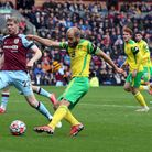 Teemu Pukki of Norwich has a shot on goal during the Premier League match at Turf Moor, Burnley Pic