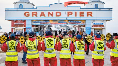 Extinction Rebellion action against the expansion of Bristol Airport, Weston-super-Mare, February 20