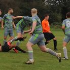 Goalmouth action from the Borehamwood Raiders andTwo Willows in Division Threeof the Herts Ad Sunday League.