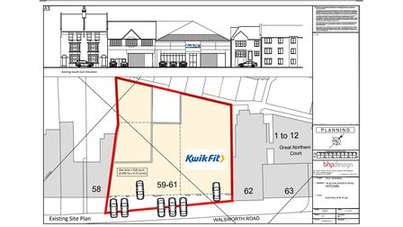 The existing site plan for Kwik Fit, 59-61 Walsworth Road, Hitchin
