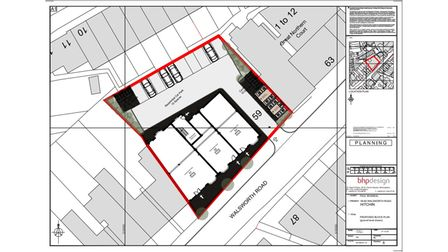The proposed black plan for Kwik Fit, 59-61 Walsworth Road, Hitchin for 10 new flats and a ground floor commercial space