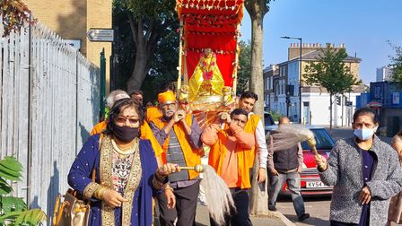 The procession made its way through a route in Hackney.